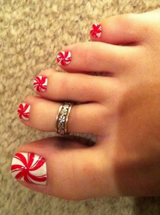 40 most beautiful christmas nail art ideas for toe nails red and white candy design christmas nail art for toe nails prinsesfo Choice Image