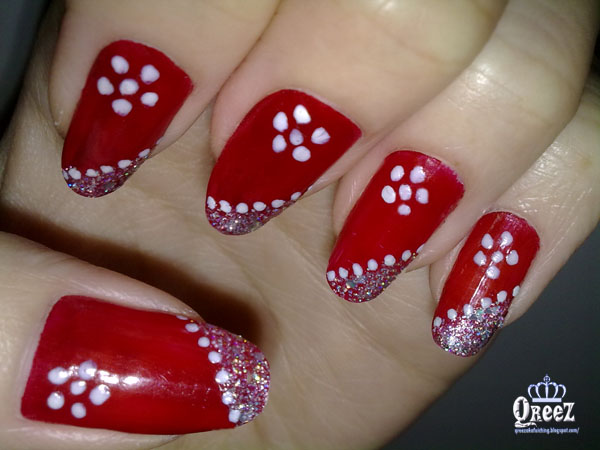 Red And White Dots Flower Nail Art