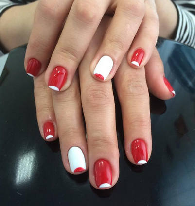 Red and white nails design image collections nail art and nail 65 most beautiful red and white nail art design ideas red and white half moon nail prinsesfo Images
