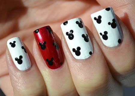 65 most beautiful red and white nail art design ideas red and white nails with black mickey mouse head nail art design prinsesfo Images