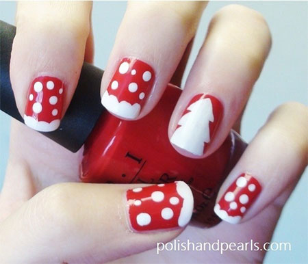Red And White Polka Dots And Accent Christmas Tree Christmas Nail Art - 50 Christmas Nail Art Ideas