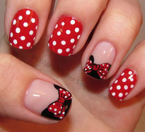 Red And White Polka Dots And Bow Nail Art Design Idea - 65 Most Beautiful Red And White Nail Art Design Ideas