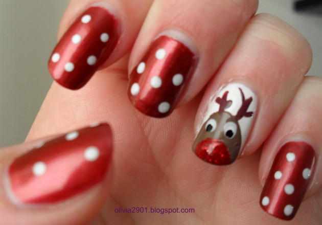 50 christmas nail art ideas red and white polka dots and reindeer christmas nail art prinsesfo Choice Image