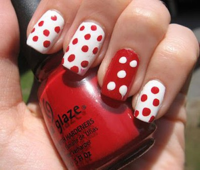 50 most beautiful red nail art design ideas red and white polka dots nail art prinsesfo Images