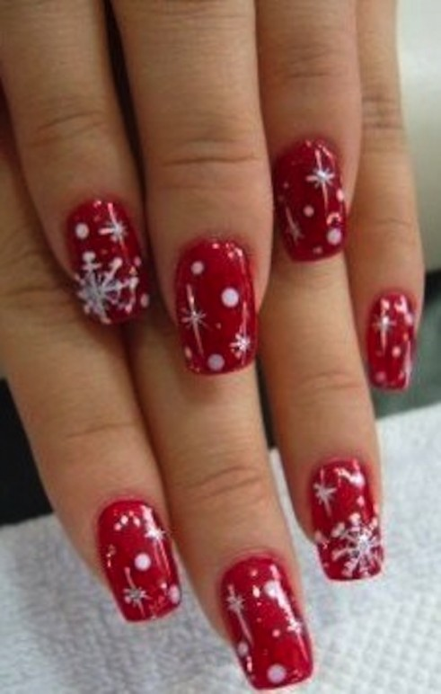 Magnificent White Nails With Red Snowflakes Composition Nail Art