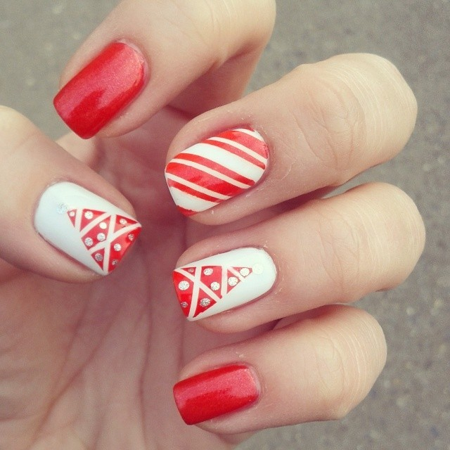 65 Most Beautiful Red And White Nail Art Design Ideas