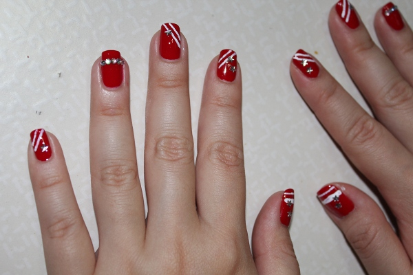 65 most beautiful red and white nail art design ideas red and white stripes nail art design idea prinsesfo Images