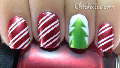 Red And White Stripes With Green Christmas Tree Nail Art - 50 Christmas Nail Art Ideas