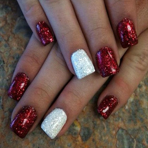 red and white glitter gel christmas nail art - Red Christmas Nails