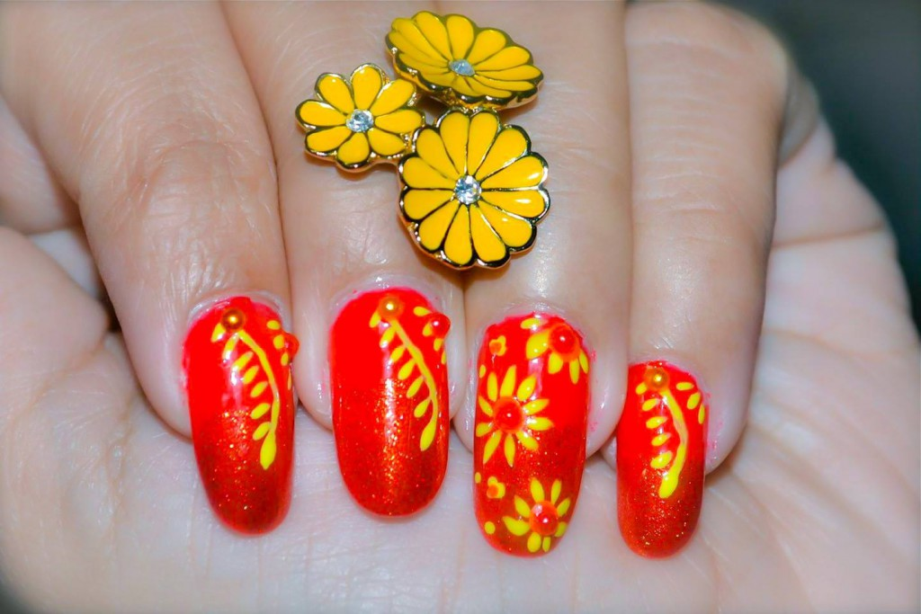 Red And Yellow Flowers Nail Art Design