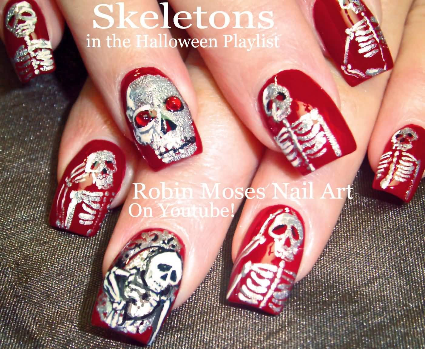 67 best red nail art design ideas red base nails with skeleton stamping nail art prinsesfo Images
