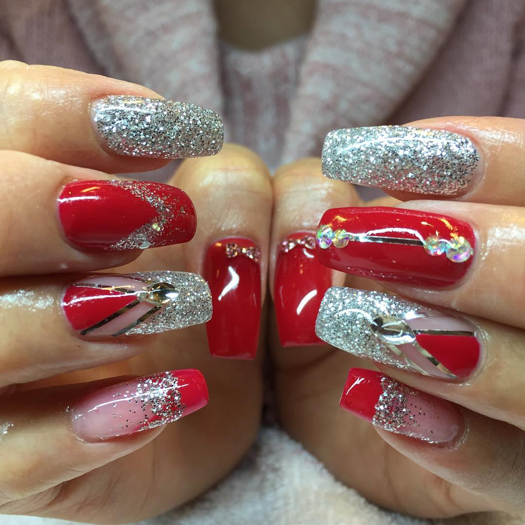 Red Glossy Nails With Silver Glitter Nail Art - 40+ Latest Red And Silver Nail Art Design Ideas