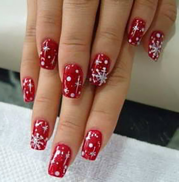 Red Nails And White Dots And Snowflakes Design Nail Art - 50 Christmas Nail Art Ideas