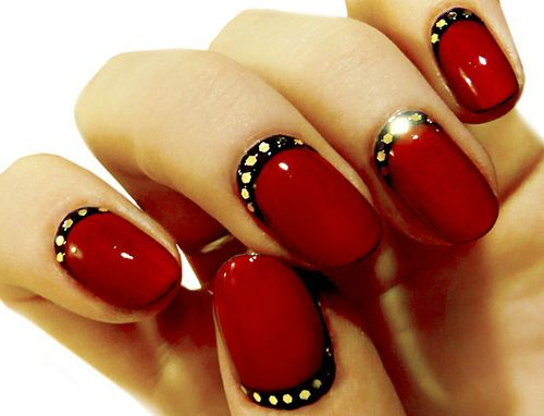 52 incredible red nail art design pictures red nails with black and white polka dots design idea prinsesfo Choice Image