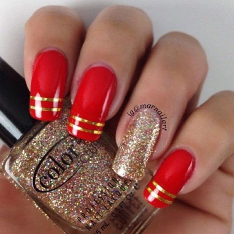 Black Gold Nail Art: 52+ Red And Gold Nail Art Designs For Trendy Girls