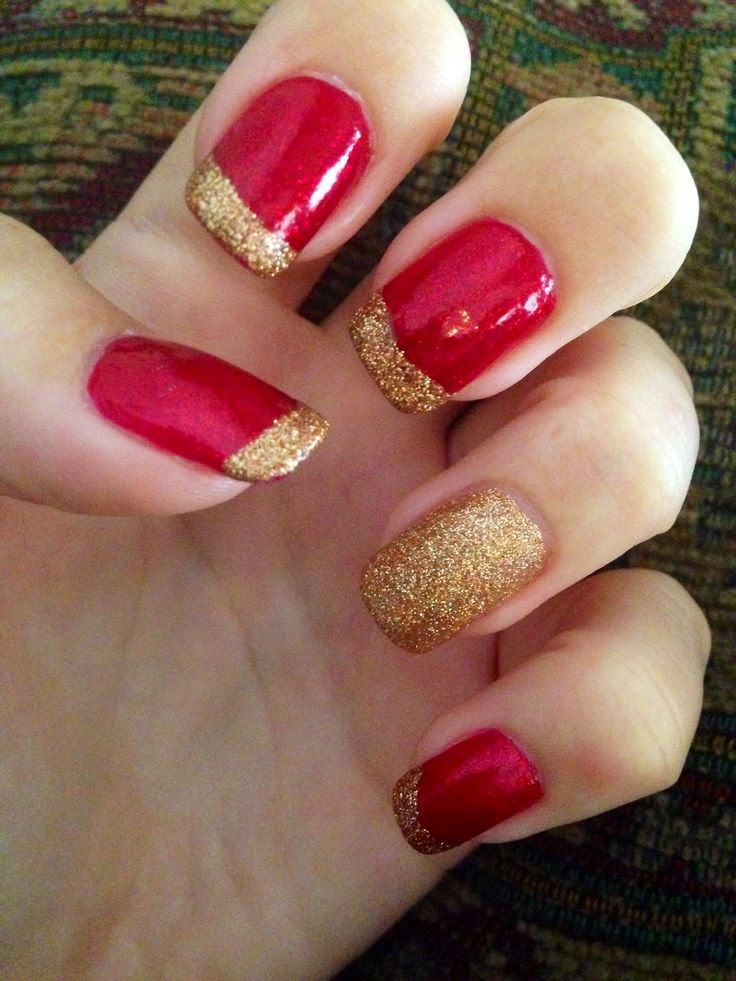 Red Nails With Gold Glitter Tip Nail Art