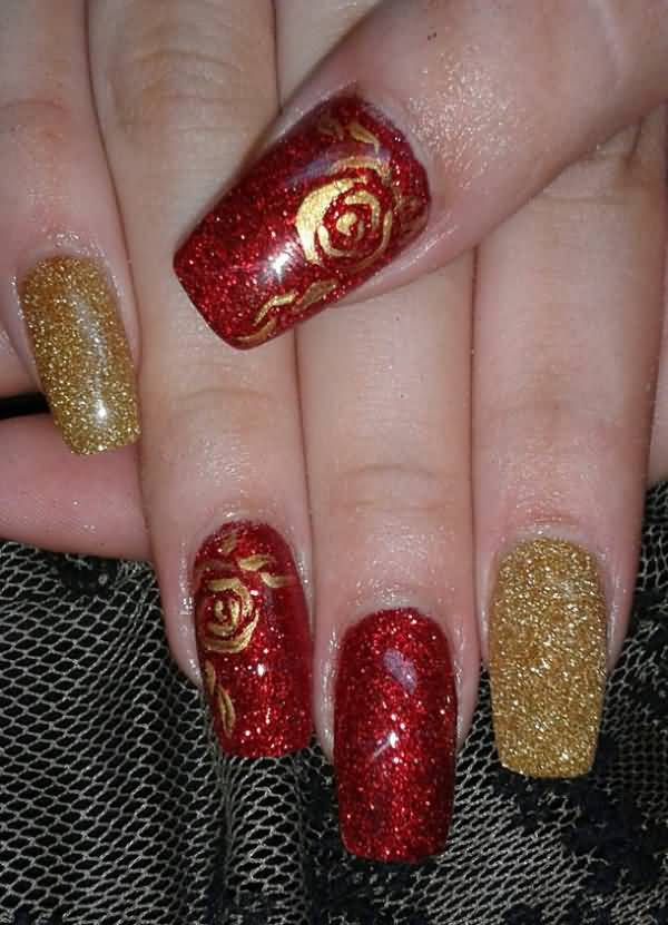 52 Red And Gold Nail Art Designs For Trendy Girls