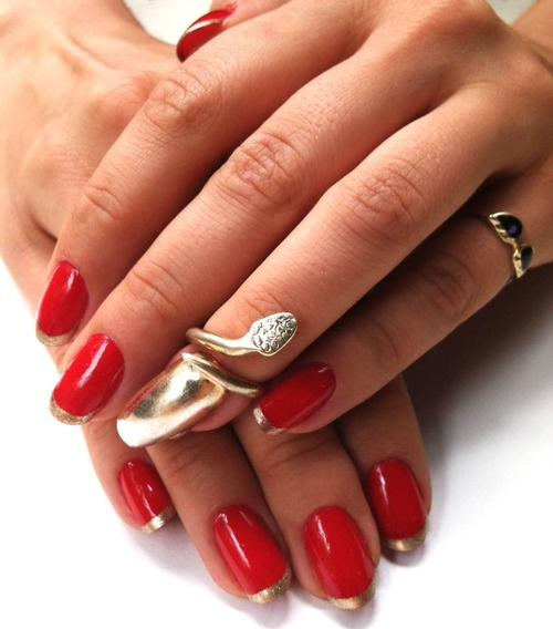 Red Nails With Gold Tip Nail Design Idea - 52+ Red And Gold Nail Art Designs For Trendy Girls