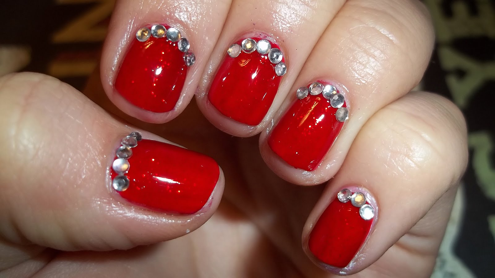 Red Nails And Rhinestones Design With Tutorial