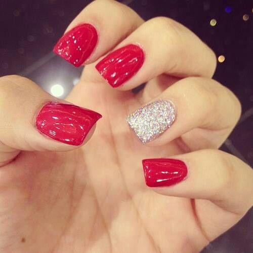 Red and silver nails design