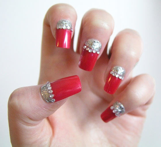 40 latest red and silver nail art design ideas red nails with silver half moon reverse french tip nail art and rhinestones design idea prinsesfo Image collections
