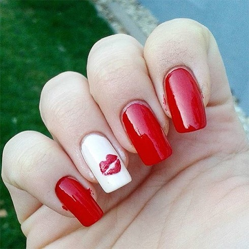 67 best red nail art design ideas red nails with white accent and lip mark nail art prinsesfo Images