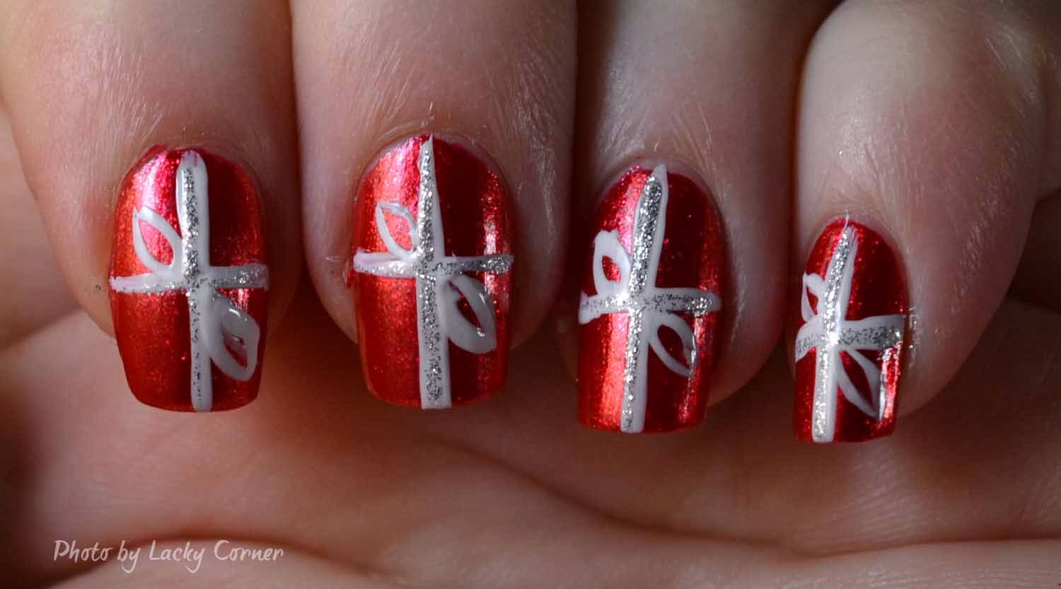 50 christmas nail art ideas red nails with white bow design nail art prinsesfo Choice Image