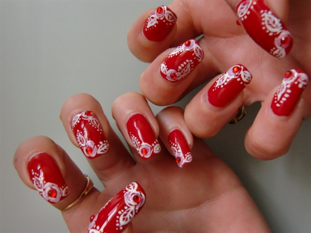 Red nail art design choice image nail art and nail design ideas 67 best red nail art design ideas red nails with white flowers and rhinestones design idea prinsesfo Choice Image