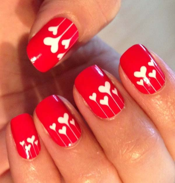 65 most beautiful red and white nail art design ideas red nails with white hearts nail art design idea prinsesfo Choice Image