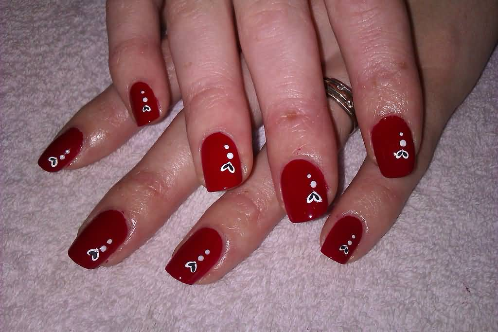 67 best red nail art design ideas red nails with white hearts prinsesfo Choice Image