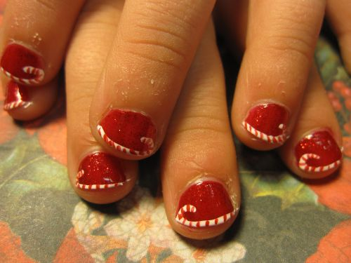 50 christmas nail art ideas red short nails with candy cane tip christmas nail art prinsesfo Gallery