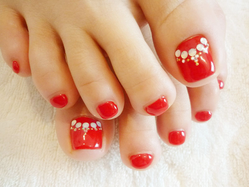 Red Toe Nail Art With Rhinestones - 58 Incredible Red Toe Nail Art Design Ideas For Trendy Girls