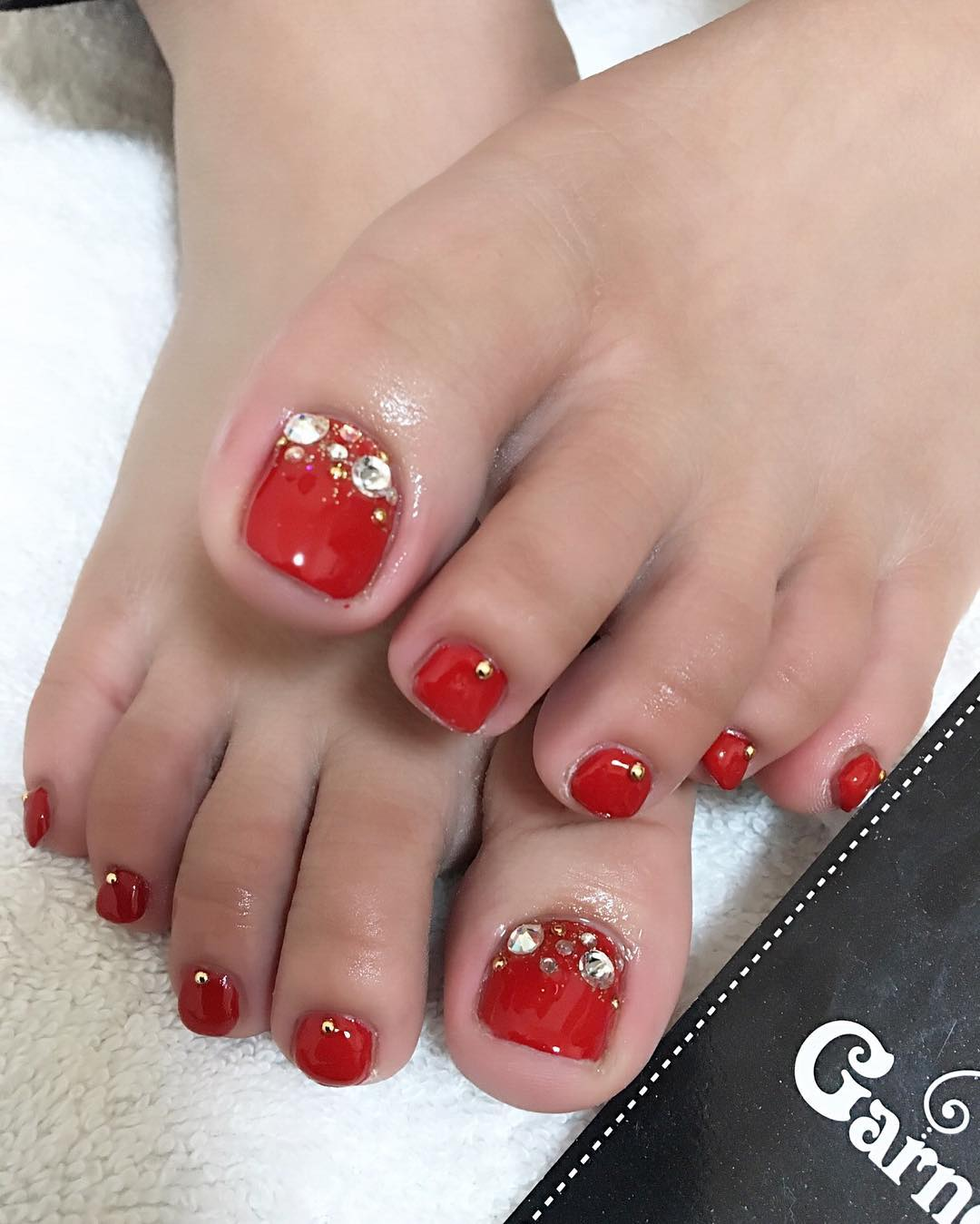 58 incredible red toe nail art design ideas for trendy girls red toe nail art with stones prinsesfo Image collections