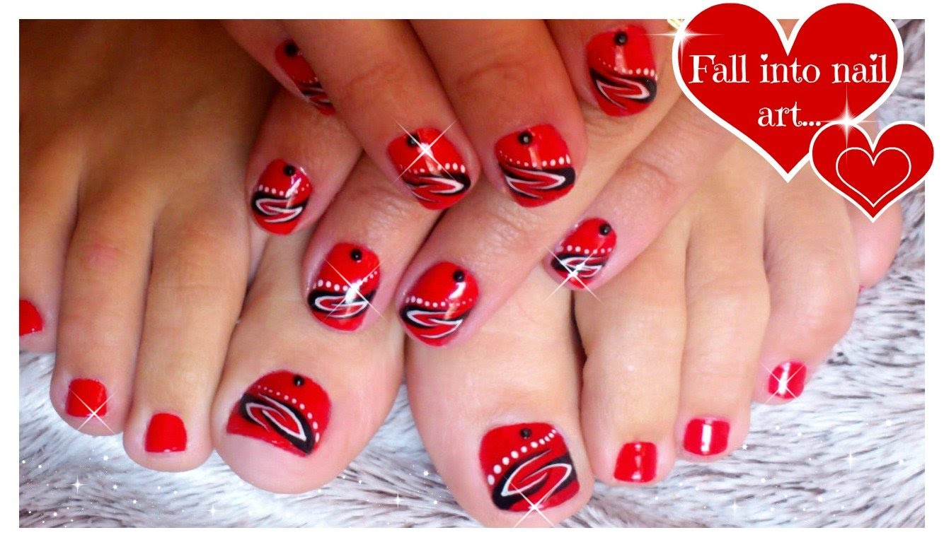 Red Toe And Hand Nails With Black And White Design Idea