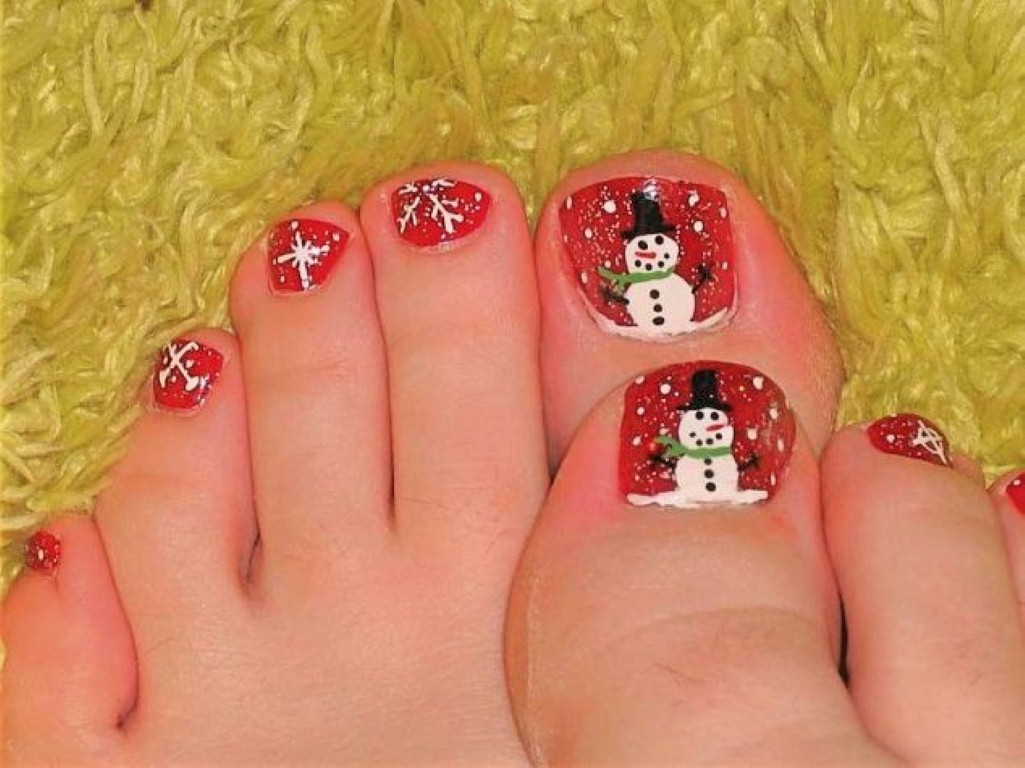 Red Toe Nails With Snowman Nail Art