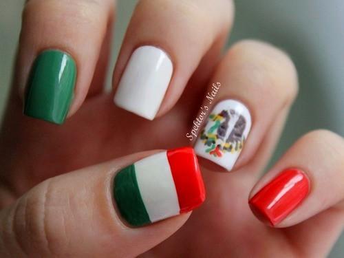 Red White Green Mexican Flag Nail Art - 50+ Most Beautiful Flags Nail Art Ideas