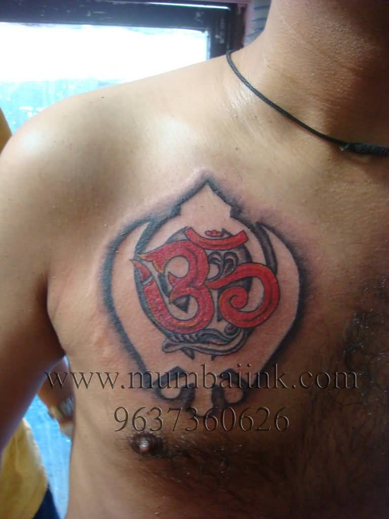 religious om with khanda punjabi tattoo on chest by mumbai ink. Black Bedroom Furniture Sets. Home Design Ideas