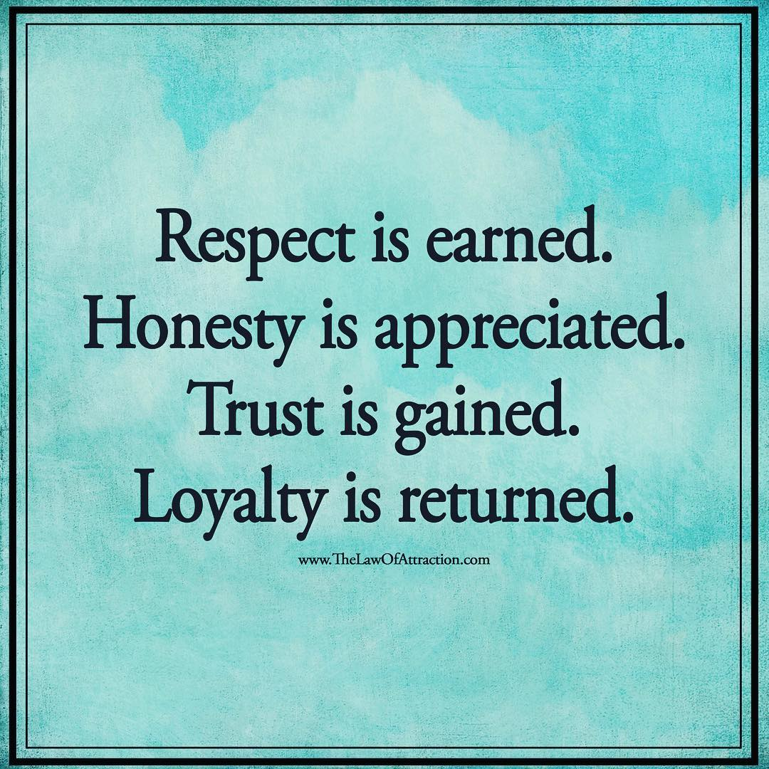 Respect is earned, Honesty is appreciated. Trust is gained. Loyalty is returned.