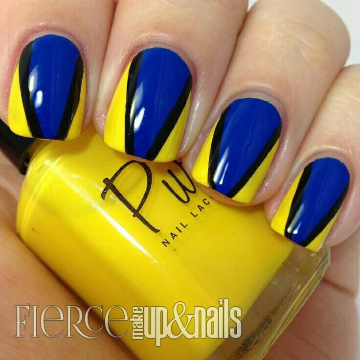 Royal Blue And Yellow Nail Art Design Idea