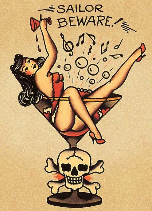 94c28b5a1 Sailor Beware Pin Up Girl Old School Tattoo Design