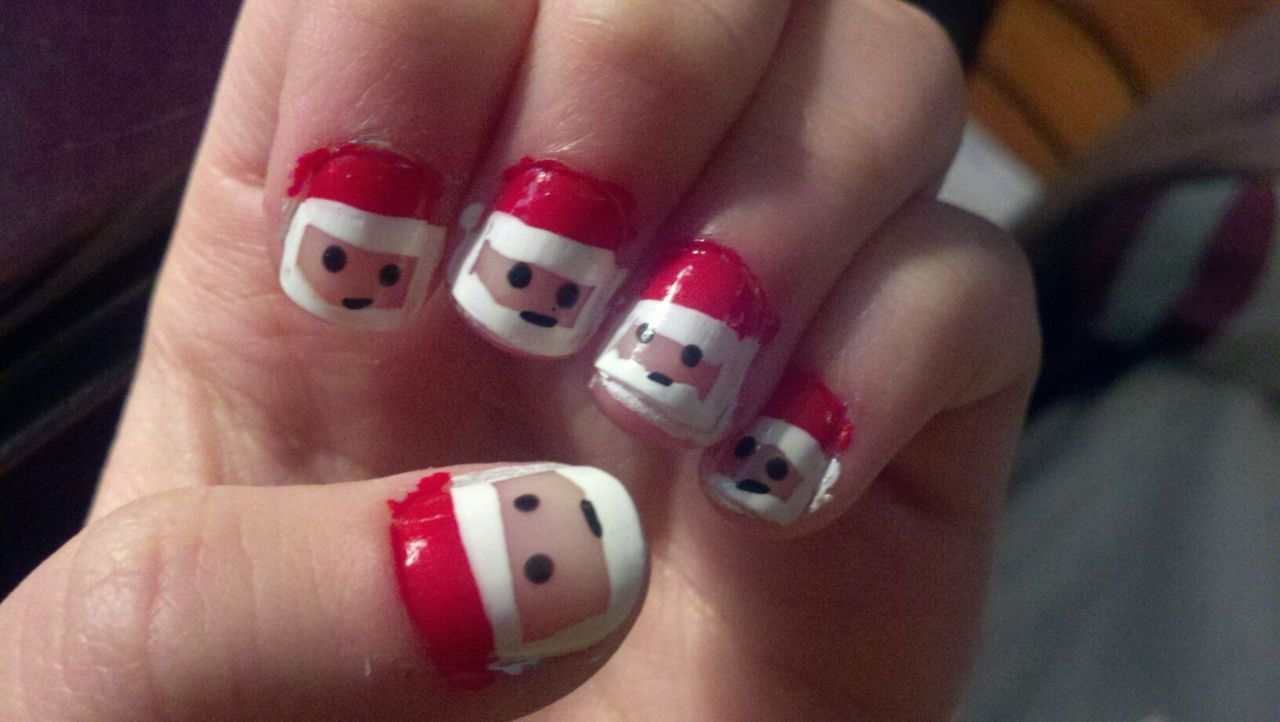Santa claus face christmas nail art for short nails prinsesfo Image collections