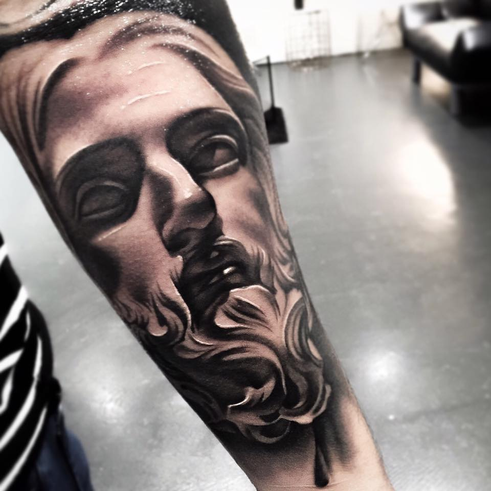 Grey Ink 3d Rose Tattoo On Arm