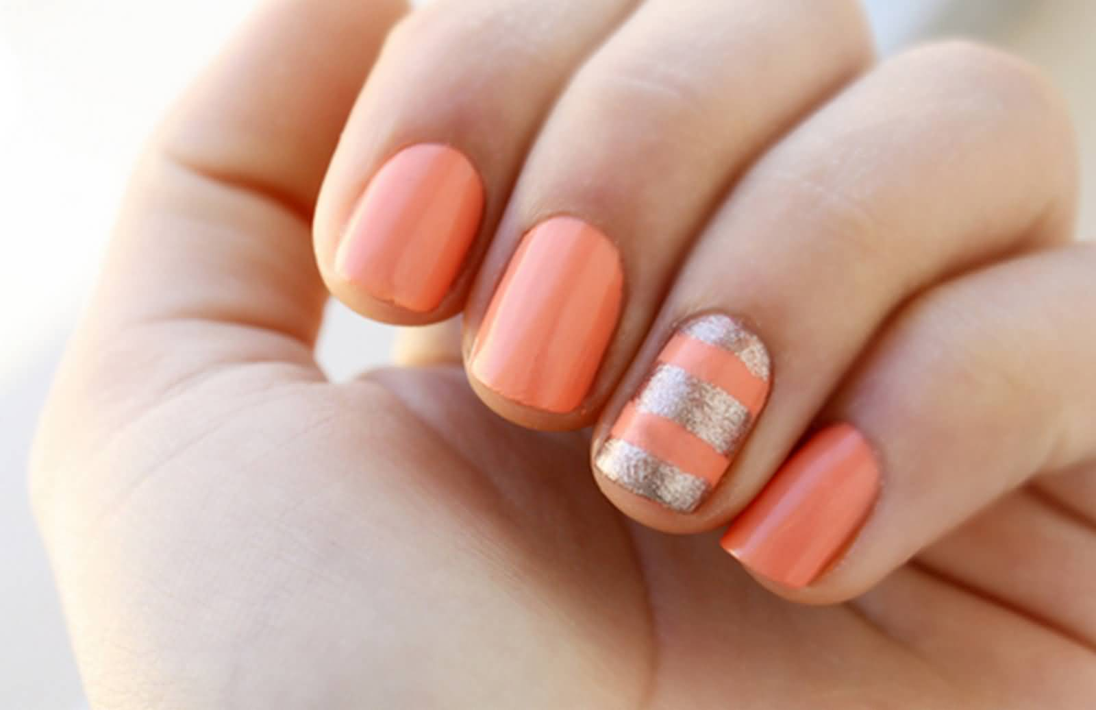 Silver Accent Nail With Orange Stripes Design Idea