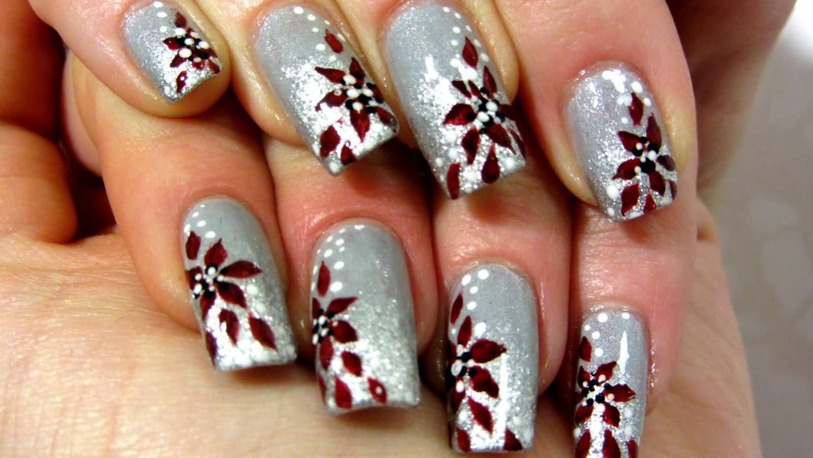 40 latest red and silver nail art design ideas silver nails with deep red floral design nail art prinsesfo Image collections