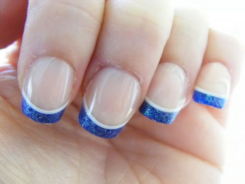 50 stylish acrylic short nail design ideas simple blue acrylic tip design short nail art prinsesfo Image collections