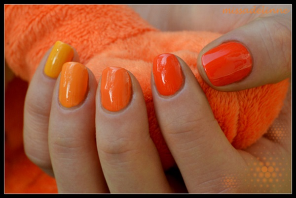 Simple Orange Nail Art