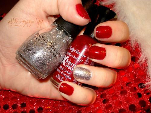 Simple Red Nails With Accent Silver Nail Art - 40+ Latest Red And Silver Nail Art Design Ideas
