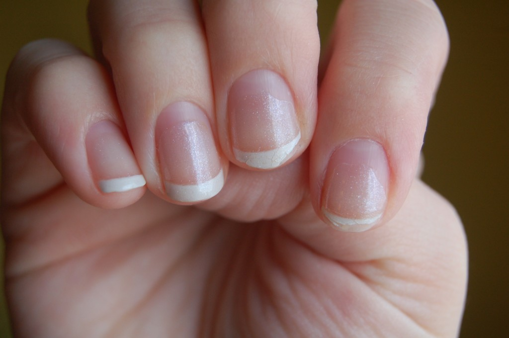 Simple Short Acrylic Nails With White Tip Design