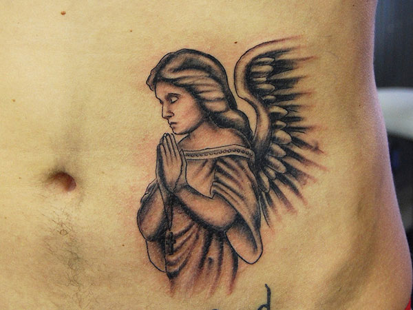 Angel Praying Chest Tattoos
