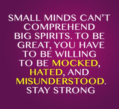 Small minds can't comprehend big spirits. To be great, you have to be willing to be mocked, hated, and misunderstood. Stay Strong.